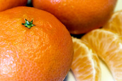 Mandarins. Some tasty orange mandarins or tangerines royalty free stock photography