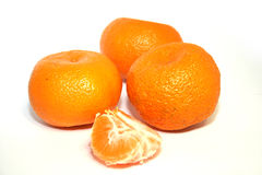 Mandarins. Orange tangerines isolated on white Royalty Free Stock Photography