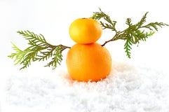 Mandarins as a snowman on christmas Royalty Free Stock Photo