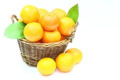 Mandarins basket Royalty Free Stock Images