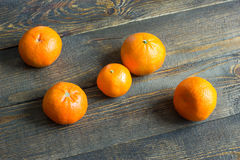 Mandarins on the boards Royalty Free Stock Photo
