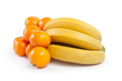 Mandarins  and a bunch of bananas Stock Photography