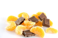 Mandarins and chocolates Stock Photography