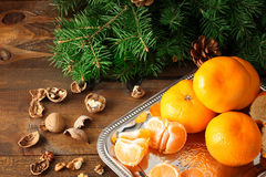 Mandarins in the Christmas composition Royalty Free Stock Photos