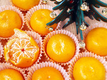 Mandarins and Christmas tree Royalty Free Stock Image