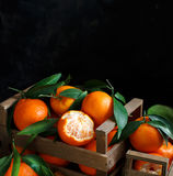 Mandarins with leaves in a box Stock Photos