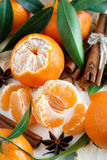 Mandarins with leaves Stock Photo