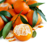 Mandarins with leaves Royalty Free Stock Image