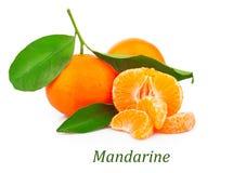 Mandarins met bladeren Stock Afbeeldingen