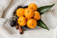 Mandarins met Bladeren, Kaneel en Notemuskaat bij de Gebreide achtergrond royalty-vrije stock afbeeldingen