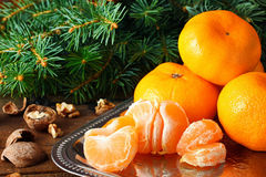 Mandarins in the New Year compositions Royalty Free Stock Image