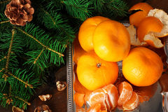 Mandarins in the New Year compositions Royalty Free Stock Photo