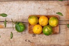 mandarins Nya tangerin på en träbakgrund Royaltyfri Foto