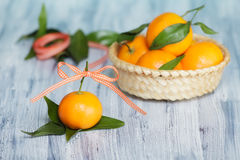 Mandarins on the old blue-white table Royalty Free Stock Photos