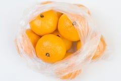 Mandarins in the polyethylene bag Stock Photography