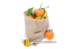 The mandarins in the sack Royalty Free Stock Photo