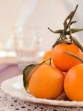Mandarins with sheets Royalty Free Stock Image