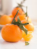 Mandarins with sheets Stock Photos
