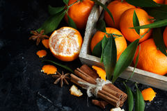 Mandarins and spices Royalty Free Stock Photography