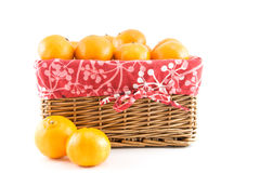 Mandarins or tangerines in the basket Stock Photo