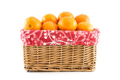 Mandarins or tangerines in the basket Royalty Free Stock Images