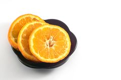Mandarins on a white background stock images