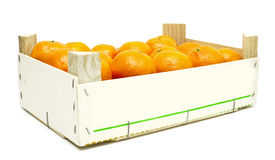 Mandarins in a wooden box Stock Images