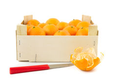 Mandarins in wooden crate Royalty Free Stock Photo