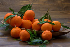Mandarins on a wooden plate. Stock Image