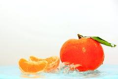 Mandaryn pomarańcze w wodzie Zdjęcia Royalty Free