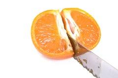 mandarynki rżnięta nożowa pomarańcze Fotografia Stock