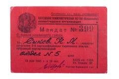 Mandate delegate Communist Party. The mandate of the delegate conference of the Communist Party Royalty Free Stock Photo
