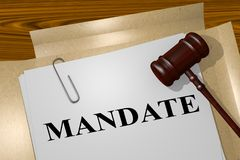Mandate - legal concept. 3D illustration of MANDATE title on legal document Royalty Free Stock Photography
