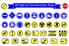 Mandatory Sign at Construction Area, Isolated on White. Vector Mandatory Sign at Construction Area, Isolated on White stock illustration