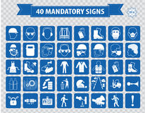 Mandatory signs, construction health, safety sign used in industrial applications. (safety helmet, gloves, ear protection, eye protection, foot protection Stock Images