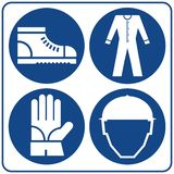 Safety signs set. Information mandatory symbol in blue circle isolated on white royalty free illustration