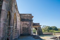Mandav Jal mahal or Water Palce Entry Gate. Side view showing arches. Mandu or Mandav is the ancient capital of Malwa Sultans who there from 13 Century till stock photos
