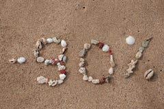Mande un SMS al 90 por ciento en la arena hecha de cáscara Imágenes de archivo libres de regalías