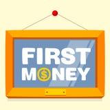 Mande un SMS al primer marco del dinero Foto de archivo libre de regalías