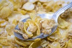 Mandel-Corn-Flakesgetreide mit Milch Lizenzfreie Stockfotos
