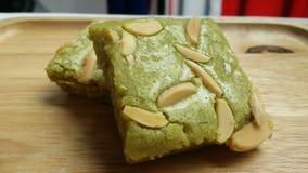 Mandel-Schokoladenkuchen Matcha Greentea Stockfotografie