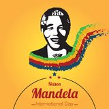 Nelson Mandela International Day, 18 July. Mandela portrait silhouette conceptual illustration vector Royalty Free Stock Photography
