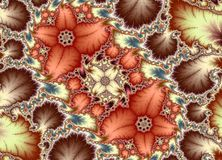 Mandelbrot Fractal Flowers. Metallic Mandelbrot Set Fractal Flowers Pattern Royalty Free Stock Photo