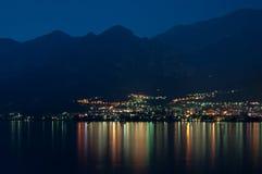 Mandello De Lario At Lake Como At Night Royalty Free Stock Photo