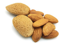 Mandeln. Dry and sweet almonds close up royalty free stock photography