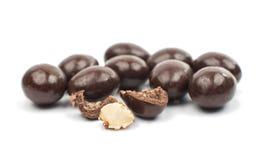 Mandeln in der Schokolade stockbilder