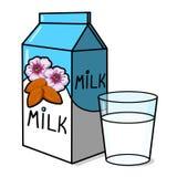 Mandeln mjölkar lådan, och ett exponeringsglas av mandeln mjölkar Illu Arkivbild