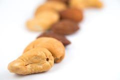 Mandeln und Acajounüsse Stockfotos
