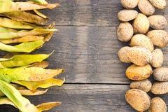 Mandeln und trocknen Blätter auf einem Holzfuß Lizenzfreie Stockfotos