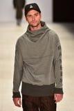 Mandem fashion show. SYDNEY / AUSTRALIA - 20 May: Model walks on runway during Mandem show at The Innovators fashion design studio during Mercedes Benz Fashion Royalty Free Stock Images